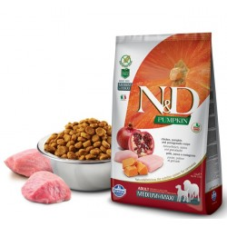 N&D Adult Dog Pumpkin Medium Maxi Hühnerfleisch, Kürbis + Granatapfel Natural & Delicious Farmina