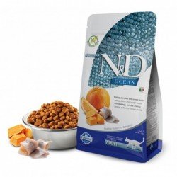 N&D Cat Adult Ocean Hering, Kürbis + Orange Natural & Delicious Cat Farmina Trockenfutter 1,5 kg